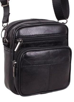 Кожаная мужская сумка sw 1001 черная барсетка через плечо на пояс 16х14х8см