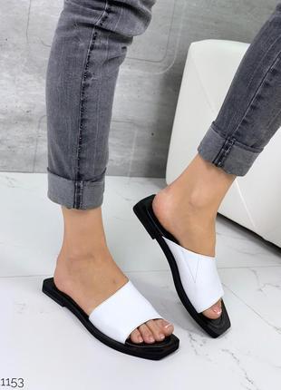 Новые женские кожаные белые шлёпки шлёпанцы сабо