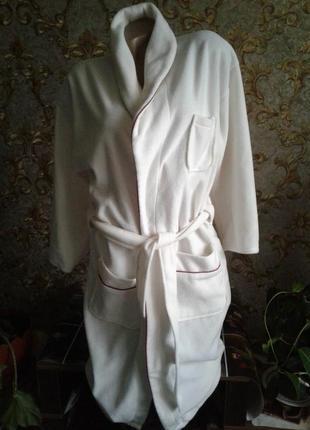 Белый флисовый халат