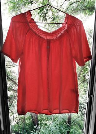 Блуза, футболка со спущенными плечами на резинке vero moda, морковный цвет