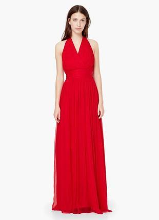 Красное шелковое платье mango