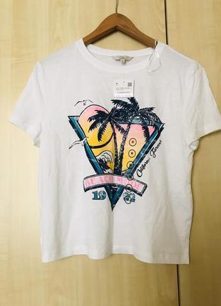 💣 sale!  крутая белая футболка c&a clockhouse, принт в стиле 90-х, 100% хлопок