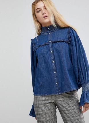 Джинсовая рубашка с оборками в винтажном стиле asos винтаж