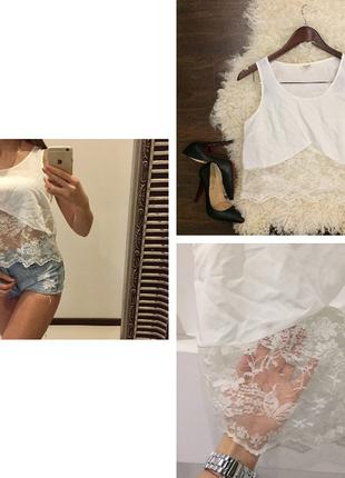 Белая кружевная блуза /майка топ  / гладь и кружево /свободного кроя / пол высокую тал