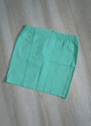 Летняя коттоновая юбка мятного цвета