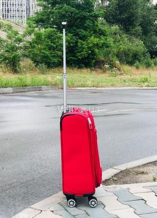 Ультра легкий маленький текстильный чемодан ручная кладь красный   /  валіза франція2 фото