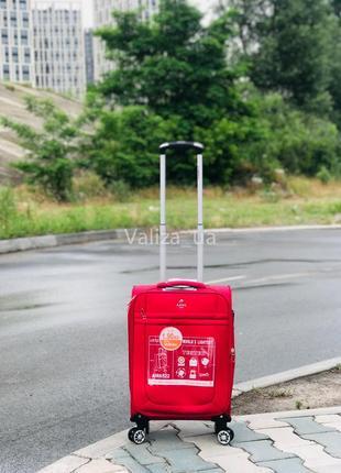 Ультра легкий маленький текстильный чемодан ручная кладь красный   /  валіза франція