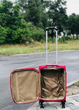 Ультра легкий маленький текстильный чемодан ручная кладь красный   /  валіза франція3 фото