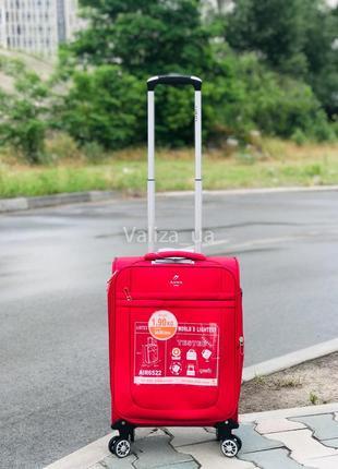 Ультра легкий маленький текстильный чемодан ручная кладь красный   /  валіза франція5 фото