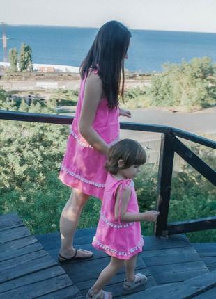 Платье мама дочка в наличии розовые платья ручной работы