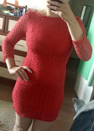👠нарядное платье кружевное ярко красное трикотажное ажурное atmosphere 10рр