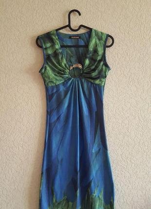 Зеленое синее платье roberto cavalli с головой лошади короткое женское роберто кавалли