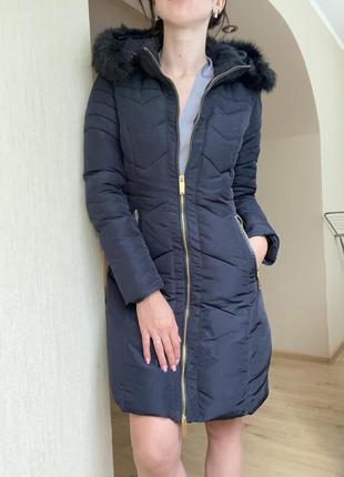 Куртка удлиненная с капюшоном, пуховик oodji