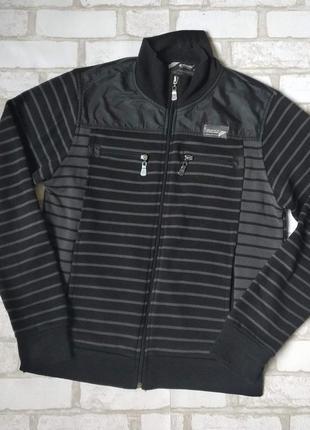 Спортивная кофта code мужская черно серая в полоску