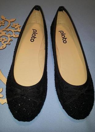 Очень красивые текстильные черные балетки. 39-й размер ( стелька 25 см. ) распродажа !