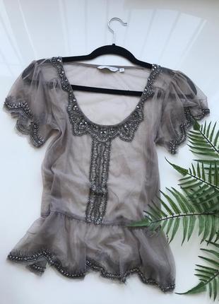 Блузка блуза с вышивка бисером прозрачная блуза