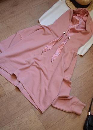 Only розовая пудровая толстовка худи с капюшоном оверсайз прямая кофта спортивная
