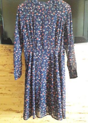 Платье с длинным рукавом в мелкий цветочек