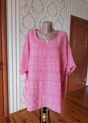 Хлопковая итальянская блузка оверсайз бохо