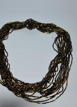 Шикарное ожерелье бусы стеклярус застежка бронза на восстановление винтаж