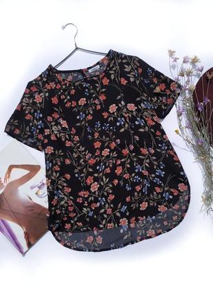 Черная блузка футболка в цветочный принт only