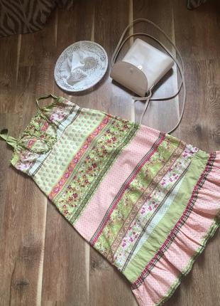 Сарафан в цветочный принт платье миди с рюшей по супер цене