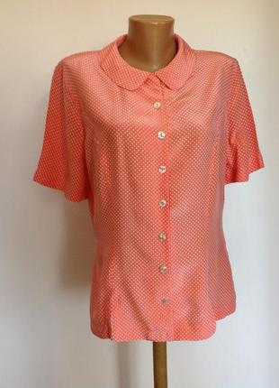 Немецкая шелковая кораловая блузочка в горошек/xl/ betty barclay