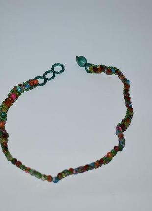 Симпатичное мини ожерелье бусы стеклярус застежка бусины ручная работа винтаж