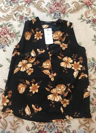 Блузка літня класична без рукавів! xs