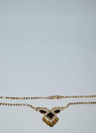 Симпатичное мини ожерелье камни металл позолота винтаж