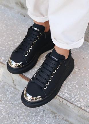 Кроссовки alexander mcqueen black metal кеды черные с металлическим носком