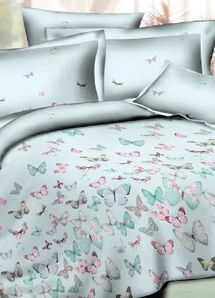 Комплект постельного белья бабочки сатин евро размер