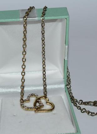 Симпатичное мини ожерелье цепочки с сердечками камни металл винтаж