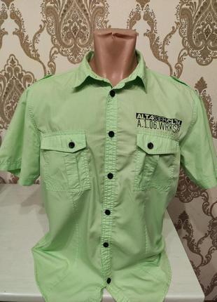 Angelo litrico салатовая рубашка с коротким рукавом