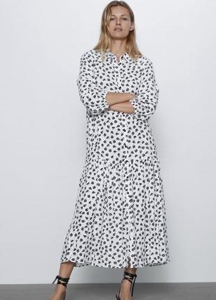 Платье миди макси в цветочек рубашка белое zara оригинал длинное