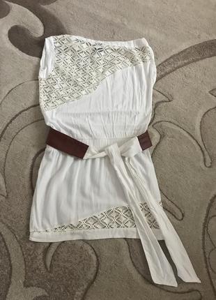 Шикарное летнее платье-туника с поясом