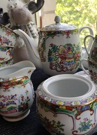 Китайский чайный сервиз ручной работы на 6 персон винтаж китай
