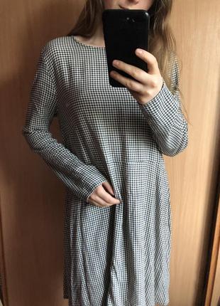 Платье легкое мини в клетку