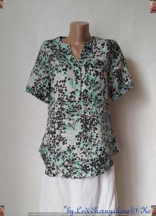 Новая нарядная легкая летняя блуза со 100 % льна в оригинальный принт, размер с-м