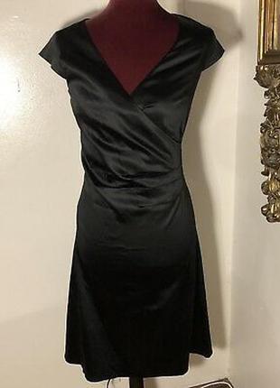 🌿1+1=3 базовое черное приталенное платье миди из атласа inwear, размер 42 - 44