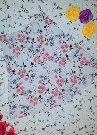 🌿1+1=3 стильная нежно-голубая в цветочный принт юбка миди marks&spencer, размер 48 - 50