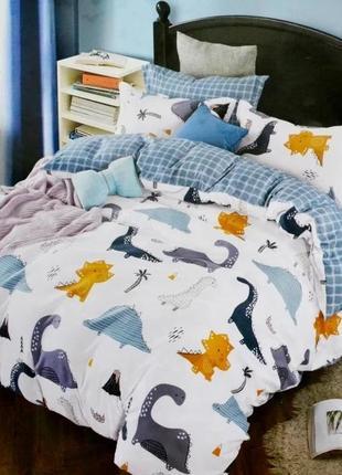 Полуторное постельное белье динозавры, качественное,  в стильном дизайне!