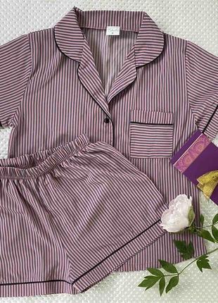 Женская шелковая пижама с шортами
