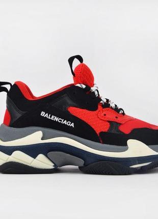 Женские кроссовки balenciaga triple s red black