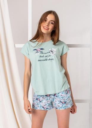 Женский комплект с шортиками - птички