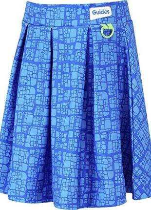 🌿1+1=3 фирменная яркая синяя короткая пышная юбка guides, размер 42 - 44
