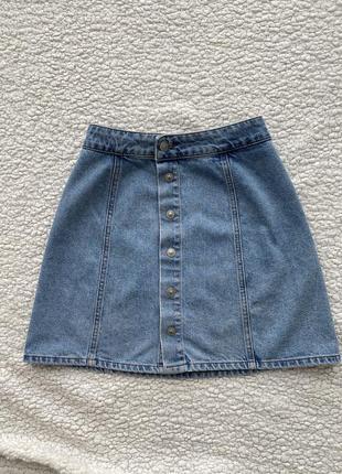 Юбка джинсовая на заклепках pull&bear