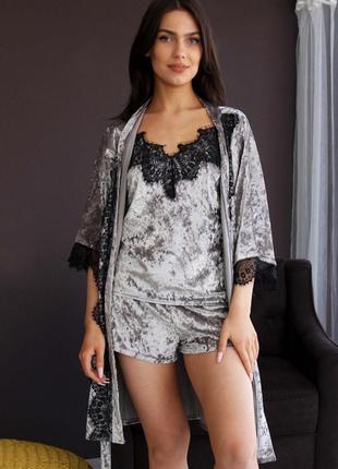 Моднейший комплект из мраморного велюра с кружевом майка+шорты + халат для дома и сна