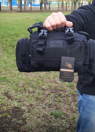 Однолямочная сумка, на 5 литров качество топ черная