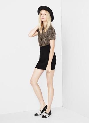 Платье the kooples черное шелковое короткое женское леопардовое животный принт кожаное